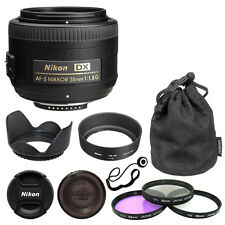 Nikon 35mm f/1.8G AF-S DX Lens Bundle + Filter Kit Lens Hood Cap Keeper