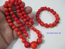 Stunning Superb Antique Natural Untreated Undyed M0M0 Coral Necklace & Bracelet.