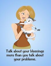 METAL REFRIGERATOR MAGNET Woman Cat Talk Blessings Not Problems Family Friend