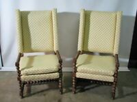PAIR of Drexel Bishopsgate English Style Wing Back Chairs Oversized;1970's