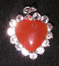 PENDANT/NECKLACE ST Red Jade & Crystals SPARKLING HEART