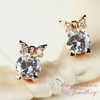 18K Rose Gold Plated Simulated Diamond Lovely Owl Stud Earrings Jewellery