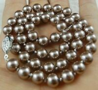 8mm Silver Champagne South Sea Shell Pearl Necklace 18""