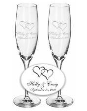 Wedding Champagne Toasting Flutes 1 Pair- Custom w/ Names & Interlocking Hearts