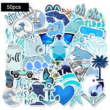 50 PCS Blue Stickers for Hydro-Flask VSCO Girl Waterproof Sticker Skateboard