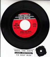 "LOUIS ARMSTRONG  Mack The Knife 7"" 45 rpm record + juke box title strip RARE!"