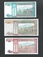 Mongolia Set of High Values 5 Notes Horses Crisp Uncirculated  100