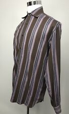 TED BAKER London Size 5 Dress Shirt Barcode Stripes Long Sleeves 100% Cotton