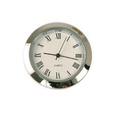 Mini Clock Quartz Movement Insert Round 1 7/16 Silver Tone Trim Home Decor