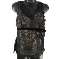 Ann Taylor LOFT Tan & Black Floral Lace Sleeveless Top Women's Petite Size 2P