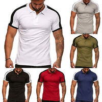 Men Muscle Slim Fit Polo Shirts Summer Casual Short Sleeve Tops Golf Tee Blouse