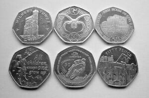 6 x DIFFERENT ISLE OF MAN 50p COINS - IoM MANX - TT, PETER PAN - FREE POST TO UK