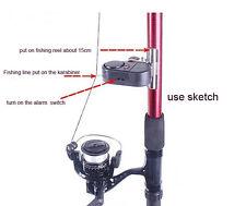 Black Electronic LED Light Fish Bite Sound Alarm Bell Clip On Fishing Rod IT