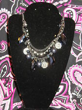 SIMPLY VERA WANG NWT $38 women's necklace dark blue silver pewter