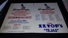 Zz Top Tejas London Records Rare Original Promo Poster Ad Framed!