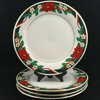 Lot of 4 VTG Dinner Plates by Tienshan DECK THE HALLS Christmas Poinsettia
