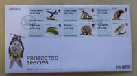 2015 JERSEY PROTECTED SPECIES POST & GO SET OF 6 STAMPS FDC FIRST DAY COVER