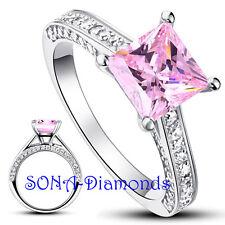 Pink Princess cut Wedding Man Made SONA NSCD Diamonds SILVER 925 Engagement Ring