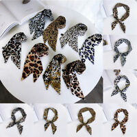 Chic Hair Tie Band Neckwear Leopard Print Little Silk Scarf Ribbon Neckerchief