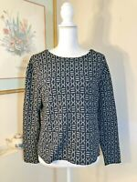 Coldwater Creek Womens Black Gray Small Top Tribal Pattern Long Sleeve Stretch
