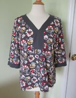 Boden Grey Floral Print Tunic Top US 6 3/4 Sleeves Cotton VNeck