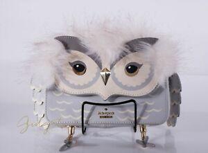 Kate Spade Star Bright OWL Mini Jocelyn Gray Clutch Bag PXRU8337