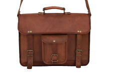 "Vintage Leather Briefcase Messenger 15.6"" Laptop Satchel Crossbody Shoulder Bag"