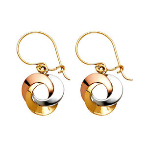 Pretty 14K Gold 3-Color 3-Circle Love Dangle Hanging Earrings