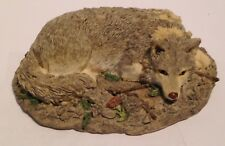"Wolf / Wolves Figurine ,Wolf Laying , Resin, 4 1/2"" Long"