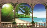 Beach Palm Tree Fence Sun 3D Window Wall Sticker Home Decals Party Decor Gifts