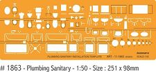 ARCHITECTS DRAFTING SANITARY TEMPLATE - PLAN  & ELEVATION VIEWS 1:50
