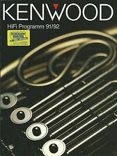 KENWOOD prospetto catalogo 91/'92 l-1000 dp-x9010 da-9010 kr-v9030 kt-7020 kx-9010