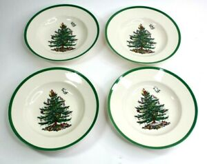 SPODE Christmas Tree Rim Soup plate 9 inch Lot of 4