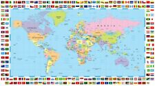 """New Map of the World with Different Country Flags 50"""" x 40"""""""