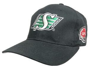 Vtg Saskatchewan Roughriders Starter Hat CFL Football Team Logo Fitted Cap Black