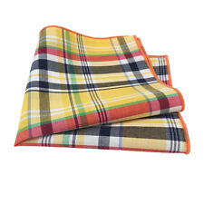 Yellow, Navy Blue, Orange and Green Plaid Pocket Square