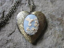 HUMMINGBIRD (BLUE) CAMEO BRONZE HEART LOCKET - ANTIQUE LOOK, BRIDAL, WEDDING