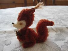 Vintage Ara Austria Wool Plush Chenille Red Squirrel With Nut 3 1/2""