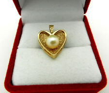 Vintage 14k Yellow Gold Texture HEART Shape Charm Pendant with PEARL
