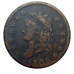 Large cent/penny 1808 Sheldon 277 twelve star variety XF details