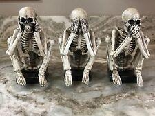 Halloween Skeleton Statues Hear, See, Speak No Evil. Spooky. New.
