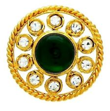 green stone rhinestone round #pi550 Authentic Vintage Chanel brooch pin
