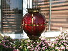 Antique GWTW Victorian HANGING HALL or  ENTRY LAMP  Ruby Red Swirled Art Glass