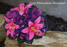 Silk Flower Wedding Flower Girl Posy - Hot Pink and Purple - Lissy and Lilly
