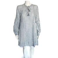 ULLA JOHNSON Helena Cotton Gauze Striped White Blue Long Sleeve Tassel Dress 8