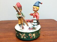 ANRI Italy Rotating Music Box Plays Winter Wonderland Skiers On Off Switch