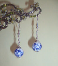 Blue and White Flower Porcelain Bead Dangly Earrings