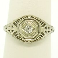 Antique Art Deco 14k White Gold Old European Cut Diamond Filigree Solitaire Ring