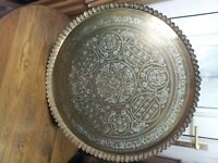 Vintage Antique Brass Engraved Wall Plaque Arabic Eastern Islamic Calligraphy
