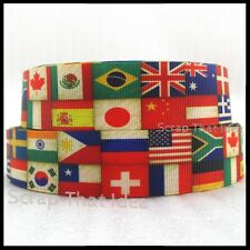 "INTERNATIONAL FLAGS  Ribbon.  1"" Grosgrain. Scrapbooking/Craft/Cake/Bows. Travel"